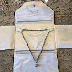 Diamond heart silver chain necklace